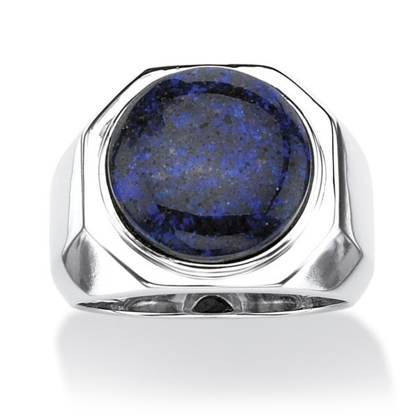 PalmBeach Men's Blue Opal Cabochon Ring in Platinum over Sterling Silver