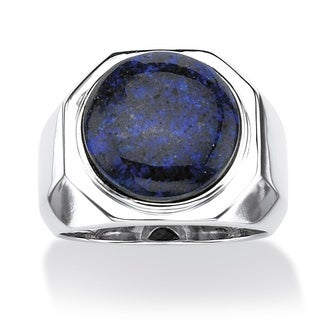 Men's Blue Opal Cabochon Ring in Platinum over Sterling Silver