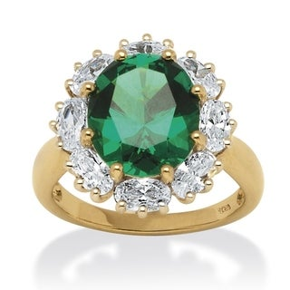7.08 TCW Lab Created Oval-Cut Emerald Ring with CZ Accents in 18k Gold over Sterling Silve