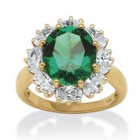18K Yellow Gold over Sterling Silver Emerald and Cubic Zirconia Ring