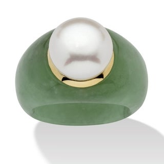 10K Gold Genuine Cultured Freshwater Pearl and Green Jade Ring
