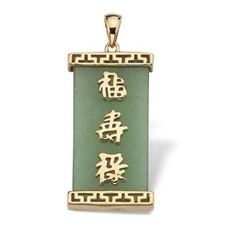 "Green Jade ""Good Luck, Prosperity & Long Life"" Pendant in Golden Finish over Sterling Silv"