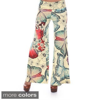 White Mark Women's Butterfly Print Palazzo Pants