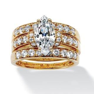 PalmBeach 3 Piece 3.18 TCW Marquise-Cut Cubic Zirconia Bridal Ring Set in 18k Gold over Sterling Silver Glam CZ