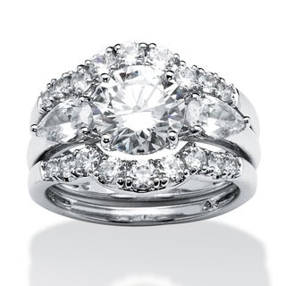 PalmBeach 3 Piece 3.45 TCW Round Cubic Zirconia Bridal Ring Set in Platinum over Sterling Silver Classic CZ