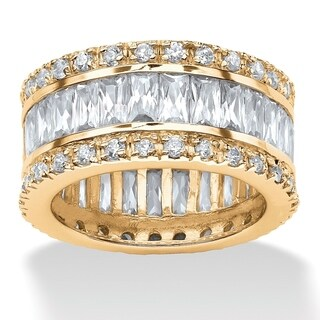 9.34 TCW Round and Emerald-Cut Cubic Zirconia 14k Gold-Plated Eternity Band Glam CZ