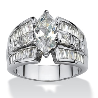 PalmBeach 7.87 TCW Marquise-Cut Cubic Zirconia Engagement Anniversary Ring Platinum-Plated Classic CZ