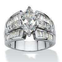7.87 TCW Marquise-Cut Cubic Zirconia Engagement Anniversary Ring Platinum-Plated Classic C