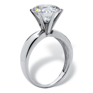 Platinum over Sterling Silver Cubic Zirconia Solitaire Engagement Ring - White