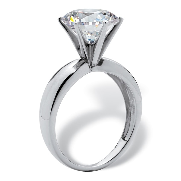 Platinum over Sterling Silver Cubic Zirconia Solitaire Engagement Ring - White. Opens flyout.