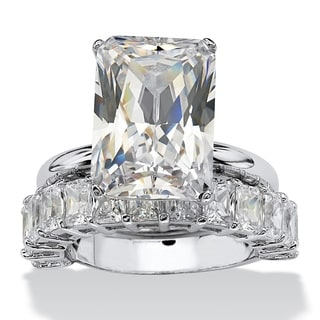 9.00 TCW Emerald-Cut Cubic Zirconia Platinum-Plated Bridal Engagement Ring Wedding Band Se