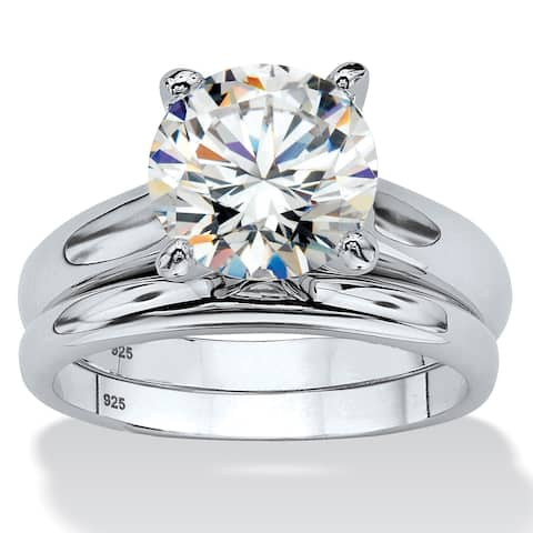 Platinum over Sterling Silver Cubic Zirconia Solitaire Bridal Ring Set - White