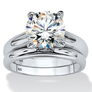 Platinum over Sterling Silver Cubic Zirconia Solitaire Bridal Ring Set - White (2 options available)