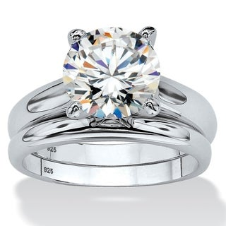 Link to Platinum over Sterling Silver Cubic Zirconia Solitaire Bridal Ring Set Similar Items in Rings