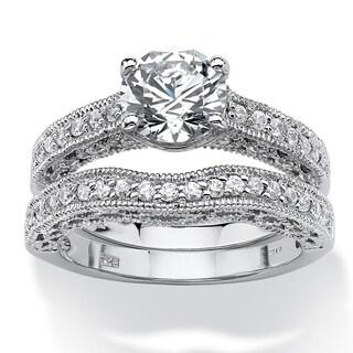 Platinum over Sterling Silver Cubic Zirconia Filigree Bridal Ring Set - White