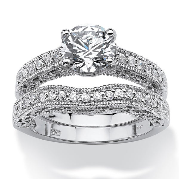 2.60 TCW Round Cubic Zirconia Platinum over Sterling Silver Filigree Bridal Engagement Rin