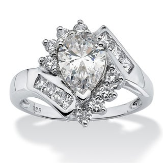 Platinum over Sterling Silver Cubic Zirconia Bypass Engagement Ring - White