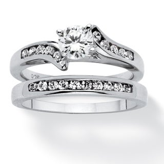 2 Piece 1 TCW Cubic Zirconia Bridal Ring Set in Sterling Silver Classic CZ