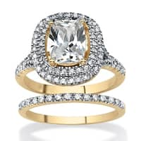 2 Piece Cushion-Cut Cubic Zirconia Bridal Ring Set 18k Gold-Plated Glam CZ