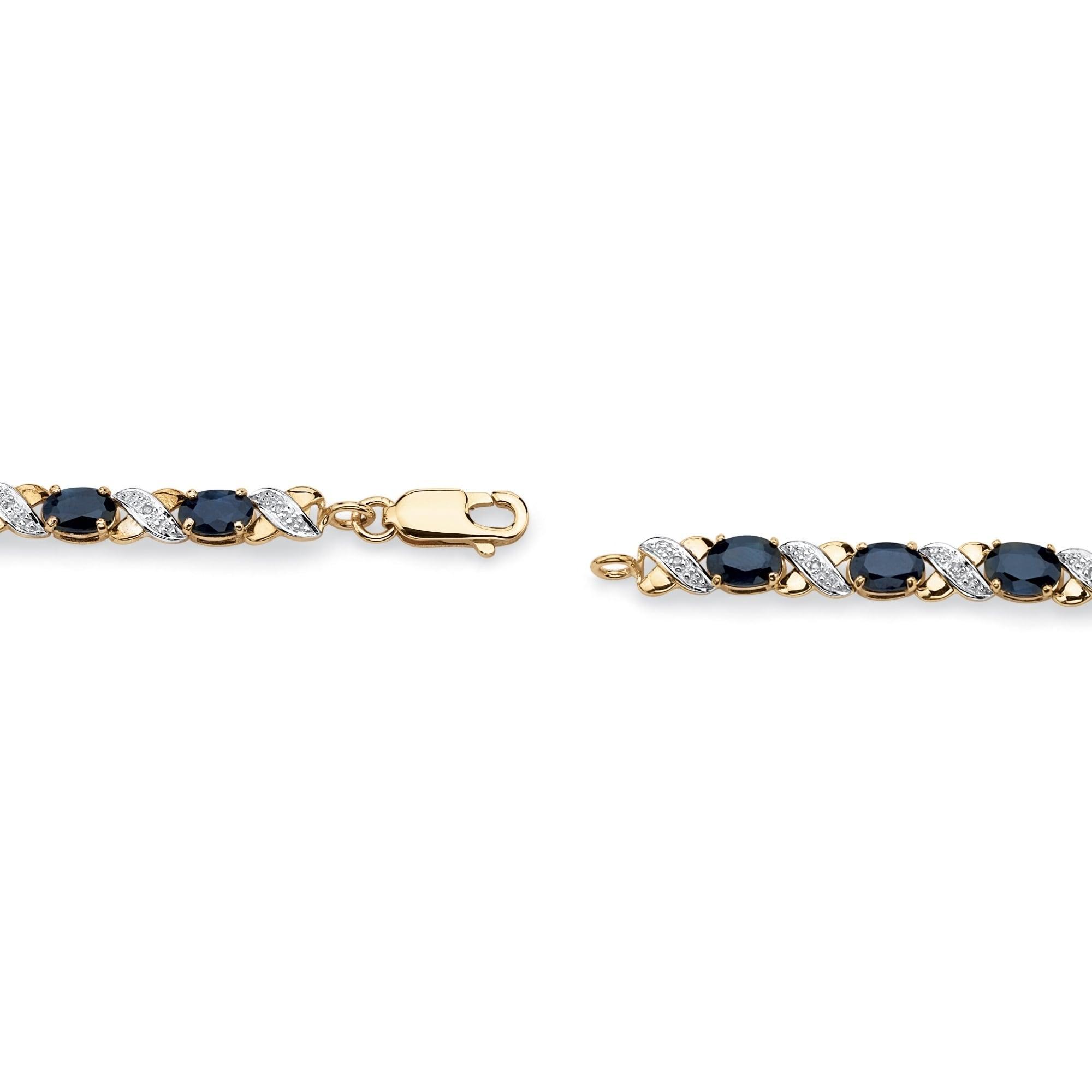 Vintage 10k Yellow Gold Bracelet Blue Topaz Tennis Bracelet 8.6 carats 7 Tennis Bracelet Oval Cut