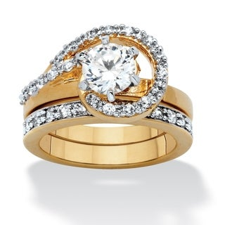 2 Piece 1.57 TCW Round Cubic Zirconia Bridal Ring Set in 18k Gold-Plated Glam CZ