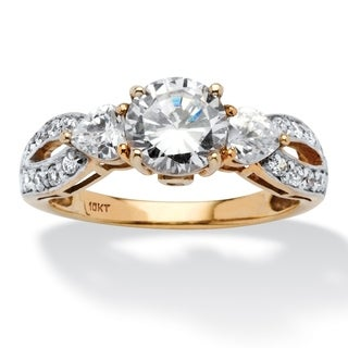 PalmBeach 2.23 TCW Round and Heart-Cut Twisting Shank Cubic Zirconia Ring in 10k Gold Classic CZ