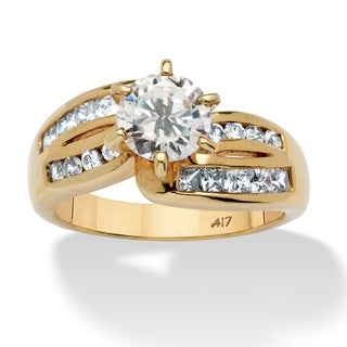 2 TCW Round Cubic Zirconia Ring in 10k Gold Classic CZ