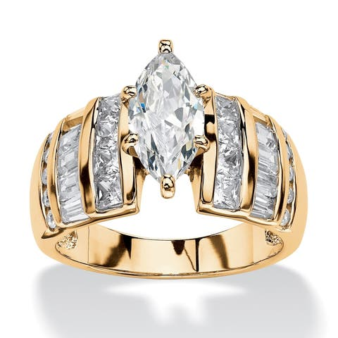 Yellow Gold over Sterling Silver Cubic Zirconia Engagement Ring - White