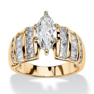 PalmBeach 3.87 TCW Marquise-Cut Cubic Zirconia Ring in 18k Gold over Sterling Silver Glam CZ