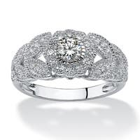 Platinum over Sterling Silver Cubic Zirconia Miligrain Engagement Ring - White
