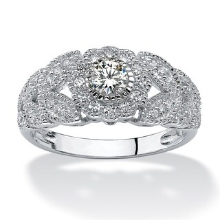 .53 TCW Round Cubic Zirconia Flower Miligrain Ring in Platinum over Sterling Silver Classi