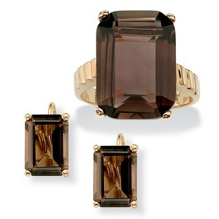 2 Piece 25.25 TCW Emerald-Cut Smoky Quartz Ring and Earrings Set in 14k Gold-Plated