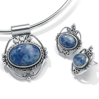 Oval-Shaped Blue Lapis Silvertone Antique-Finish Pendant and Earrings Set Naturalist