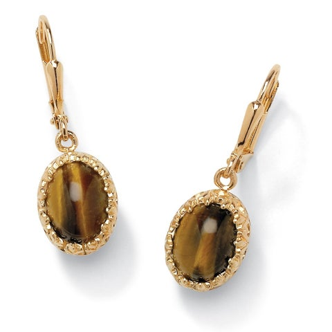 18K Yellow Gold-plated Drop Earrings (12x10mm) Genuine Tiger's Eye