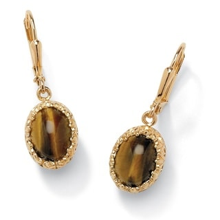 Genuine Oval Tiger's Eye Cabochon Drop Earrings 14k Yellow Gold-Plated Naturalist