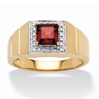 Men's 1.30 TCW Square-Cut Garnet and Diamond Accent Ring in 10k Gold