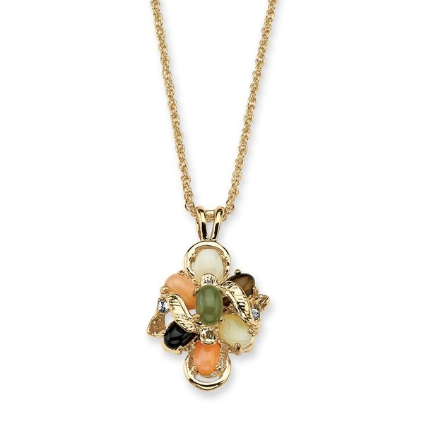 "1/4 TCW Genuine Multi-Gemstone & Crystal Accent Necklace in Gold Tone 18"" Naturalist"