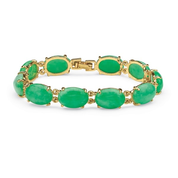 Agate Cabochon Bracelet in Yellow Gold Tone Naturalist