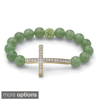 "PalmBeach Round Genuine Gemstone and Crystal Yellow or Rose Gold-Plated Horizontal Cross Stretch Bracelet 8"" Naturalist"