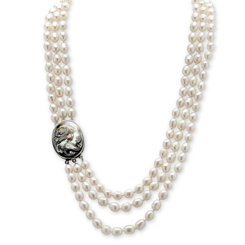 """Silver Tone Multi Strand Necklace Cultured Freshwater Pearl 28"""""""