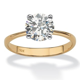 PalmBeach 2.50-Carat Round Genuine Topaz 10k Yellow Gold Solitaire Bridal Engagement Ring
