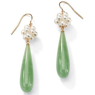 Jade and Cultured Freshwater Pearl Accent 10k Yellow Gold Drop Earrings Naturalist