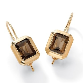 8 TCW Emerald-Cut Genuine Smoky Quartz Drop Earrings 14k Gold-Plated