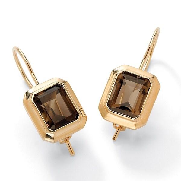 8 Tcw Emerald Cut Genuine Smoky Quartz Drop Earrings 14k Gold Plated