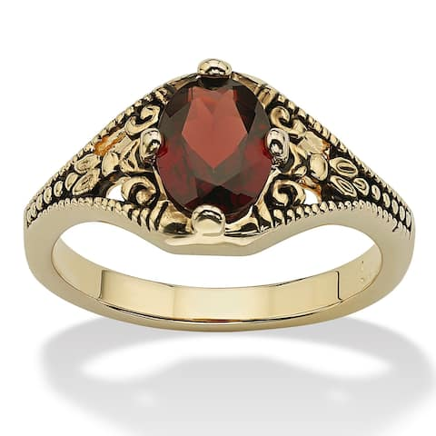 Yellow Gold-Plated Antiqued Genuine Red Garnet Vintage-Style Ring