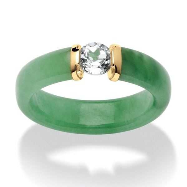 10K Yellow Gold Genuine Green Jade and Round Genuine Topaz Ring