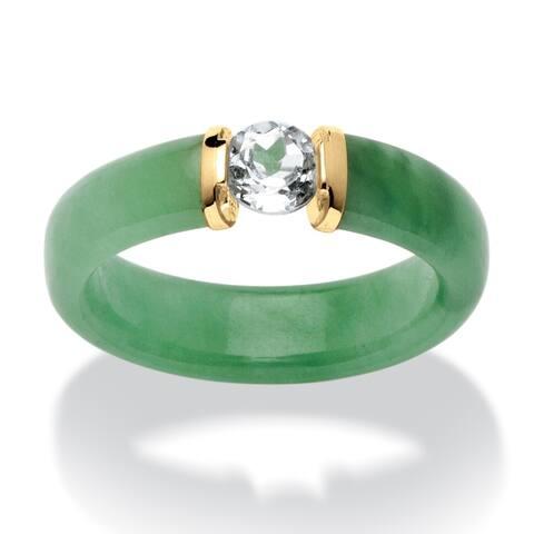10K Yellow Gold Genuine Green Jade and Round Genuine Topaz Ring