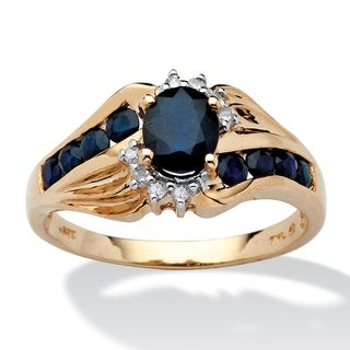 PalmBeach 1.10 TCW Oval-Cut Sapphire and Diamond Accent Ring in 10k Gold