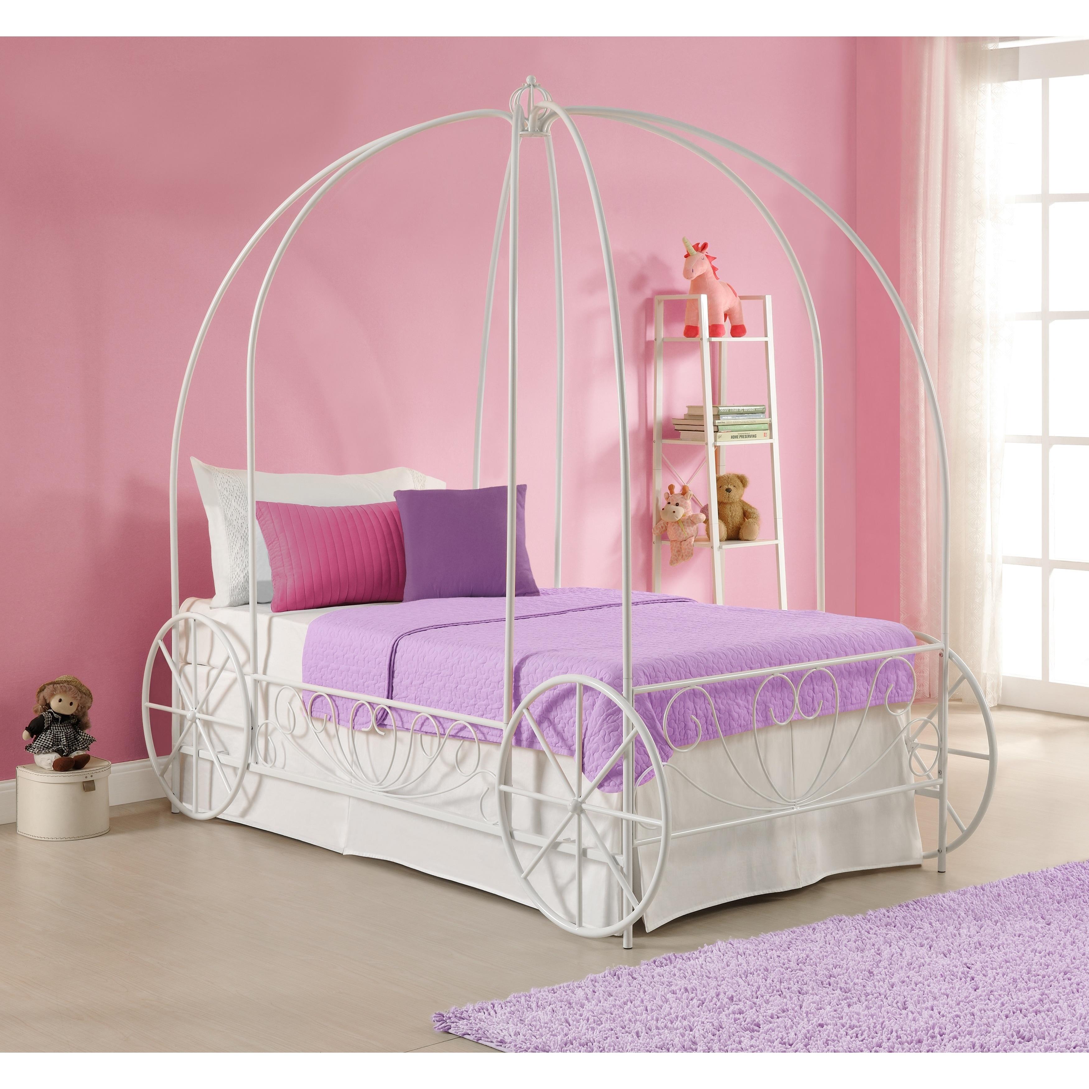 DHP Princess Carriage Twin Metal Bed (Twin, White Metal Bed)
