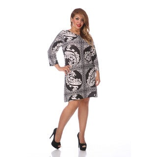 White Mark Women's Plus Size Black and White Printed Dress
